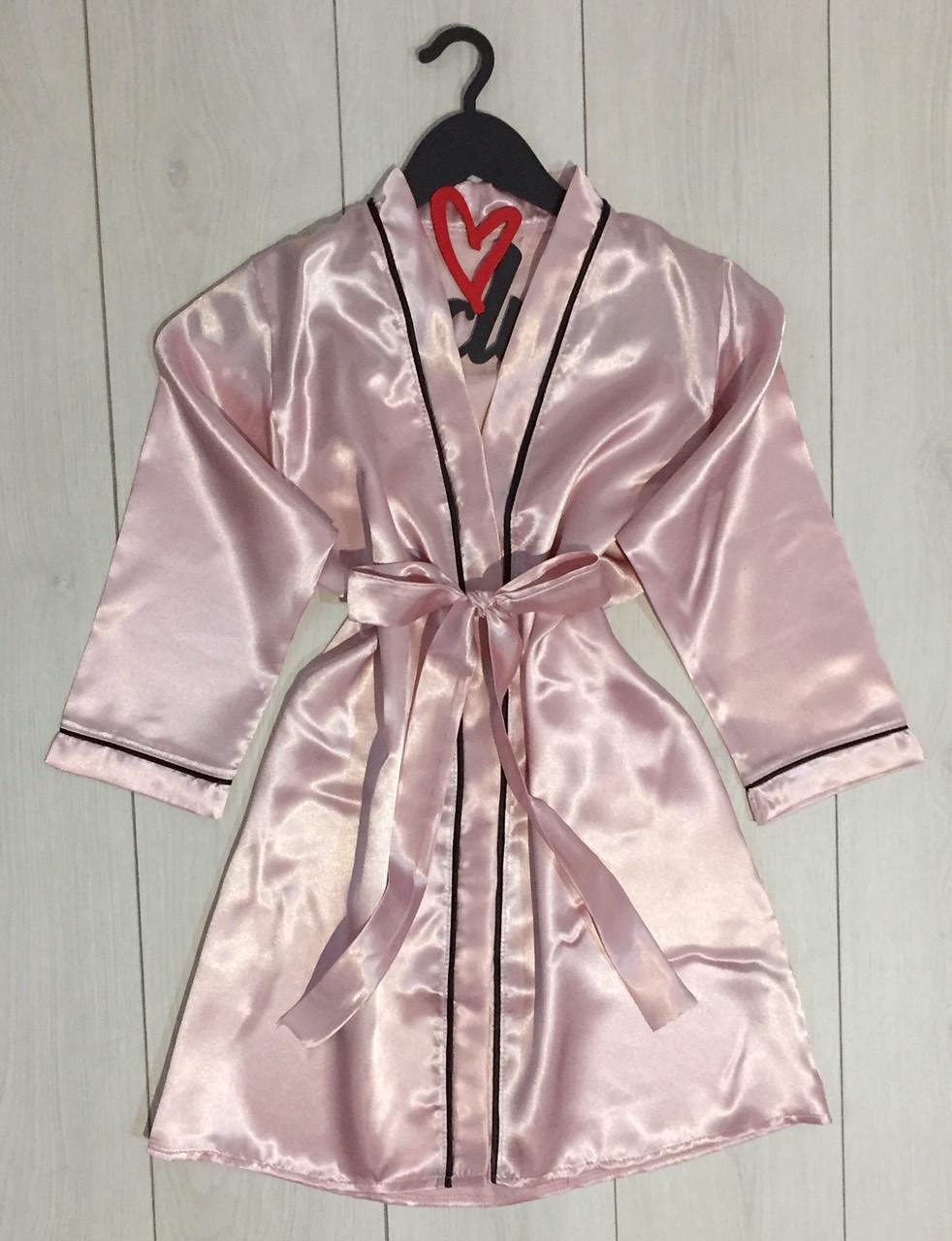 Короткий атласный халат ТМ Exclusive 028, женские халаты.