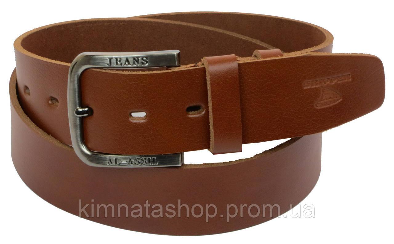 Мужской кожаный ремень под джинсы Skipper 1187-45 коричневый ДхШ: 124х4,5 см.