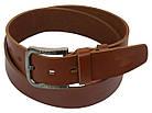 Мужской кожаный ремень под джинсы Skipper 1187-45 коричневый ДхШ: 124х4,5 см., фото 2
