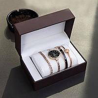 Годинник в подарунковій упаковці watch set ANNE KLEIN Roze gold black, фото 1