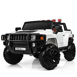 Детский 2-х местный электромобиль с кожаным сиденьем, M 3830 EBLR-1 белый