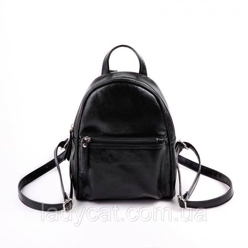 da08b7fd87b8 Женский маленький черный рюкзак из кожзама -