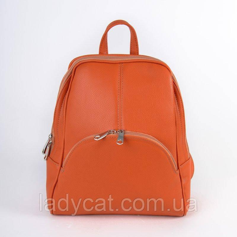 Яркий оранжевый женский рюкзак с искусственной кожи