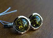 Серебряные серьги с золотыми пластинками и янтарем