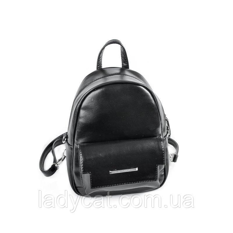 Черная женская сумка-рюкзак с искусственной кожи