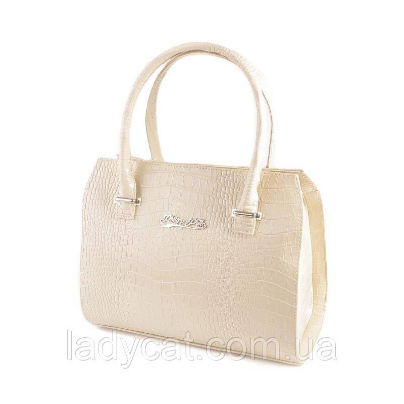 b194ccb9d20d Женская каркасная летняя сумка молочного цвета из кожзаменителя  декорирована крокодиловым узором -