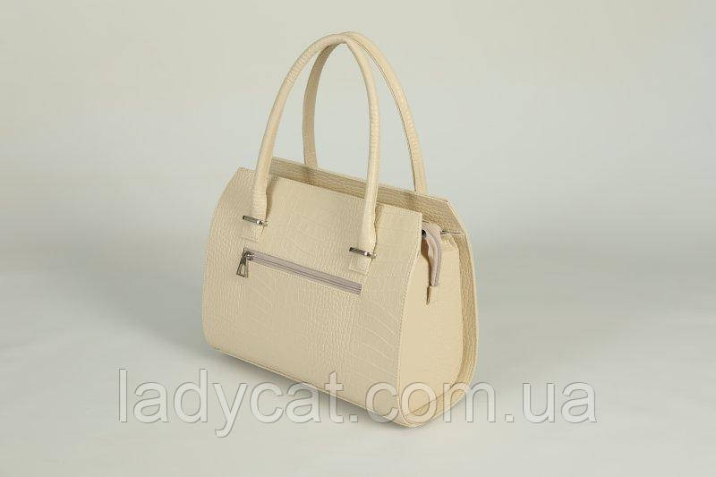 f51009c39943 ... Женская каркасная летняя сумка молочного цвета из кожзаменителя  декорирована крокодиловым узором , фото 3 ...