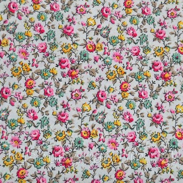 Тканина віскоза принт стрейчева з квітковим малюнком