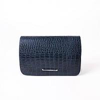 Модный женский клатч с тиснением «крокодил» синего цвета