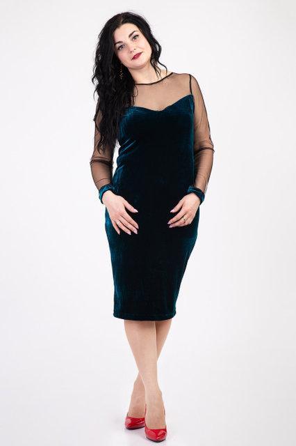 Стильное женское платье из бархата (изумруд)
