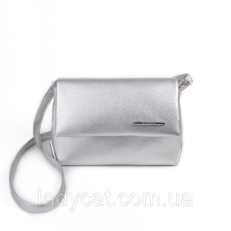 952699d3418a Женская маленькая сумочка серебряного цвета -