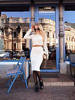 Невероятно крутое шерстяное тёплое вязаное платье-гольф (елис)