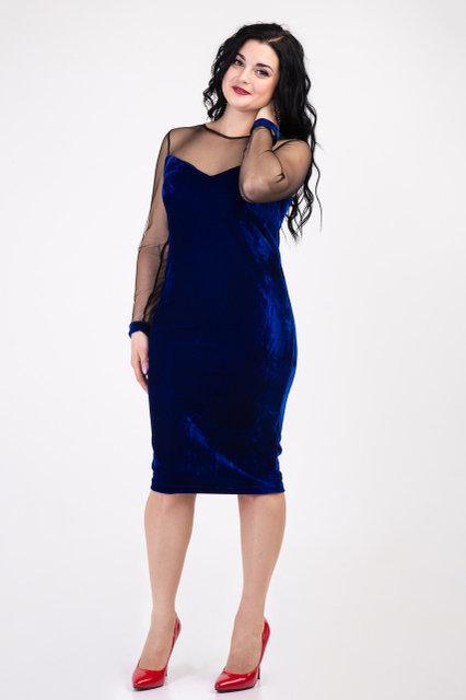 Стильное женское платье из бархата (электрик)