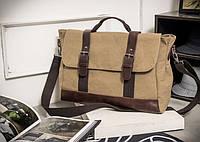 Стильный мужской тканевый портфель-сумка ручкой.  Песочный