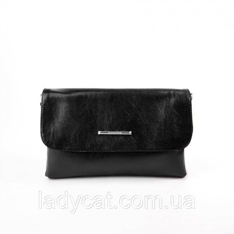 Женская черная сумка с искусственной кожи на длинном ремне