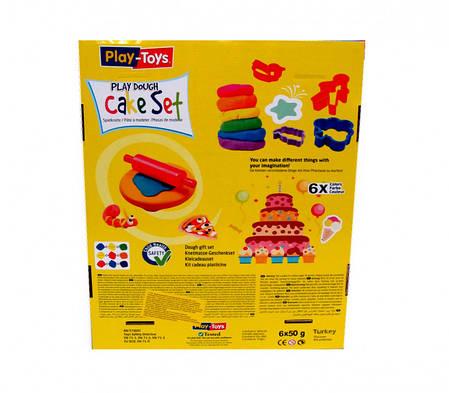 Масса для лепки Play-Toys Набор Cake set 6 х50г.+инcтрументы, фото 2