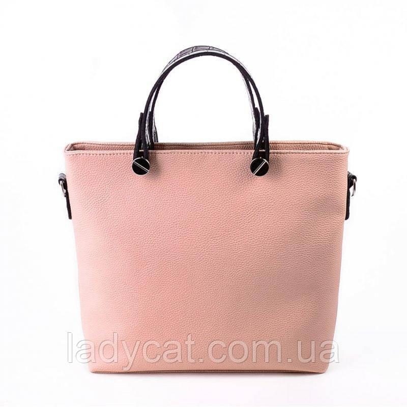 f67ef4b9a78a cid2833599_pid651279648-44638f2d.jpg. Женская вместительная сумка из кожзама  пудрового цвета