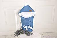 Стеганый демисезонный джинсовый конверт на трикотаже, классик, фото 1