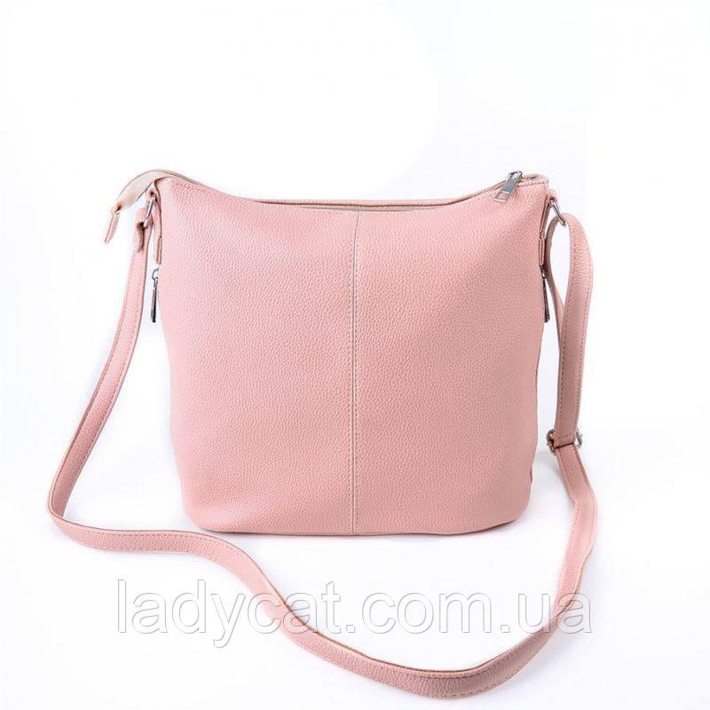 a0414ab101c4 Розовая женская сумка с кожзама через плечо -