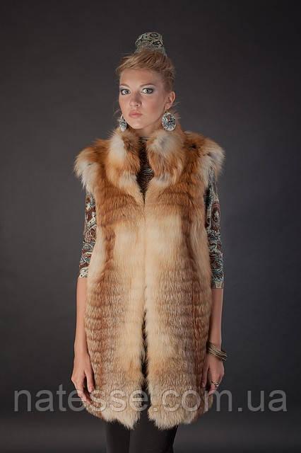 Меховая жилетка жилет безрукавка из рыжей лисы «вроспуск»  Horizontal layered fox fur vest fur gilet