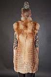 Хутряна жилетка жилет безрукавка з рудої лисиці «вроспуск» Horizontal layered fox fur vest fur gilet, фото 3