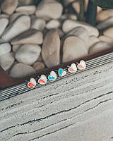 Полуцветные сердца - серебряные серьги гвоздики Голубые