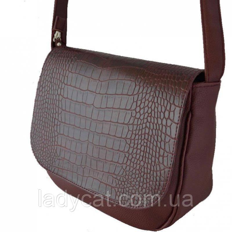 Бордовая женская сумка кросс-боди с искусственной кожи