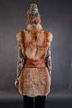 Хутряна жилетка жилет безрукавка з рудої лисиці «вроспуск» Horizontal layered fox fur vest fur gilet, фото 5