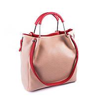 Женская сумка розового цвета с красными ручками с искусственной кожи, фото 1