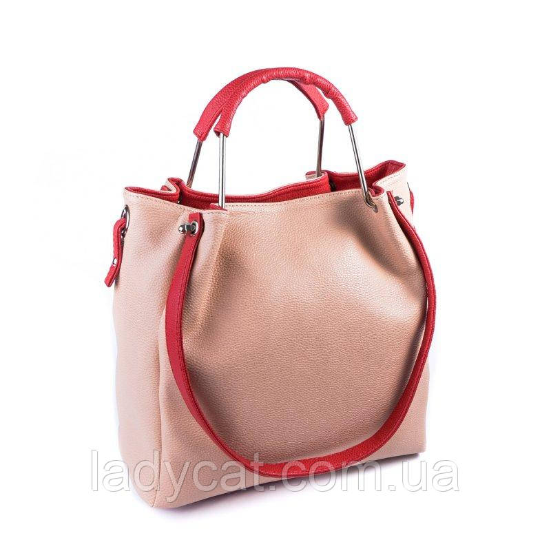 Женская сумка розового цвета с красными ручками с искусственной кожи