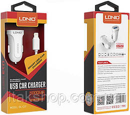 Автомобильное зарядное устройство LDNIO DL-C17 Car charger 1USB 1A + Lightning cable White, фото 2