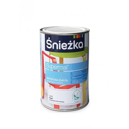 Фарба акрилова для дерева та металу Супер емаль Sniezka (А500) БІЛИЙ 0,8л МАТОВИЙ