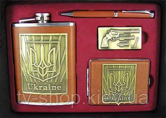 Набір подарунковий з флягою Україна (шкіра)