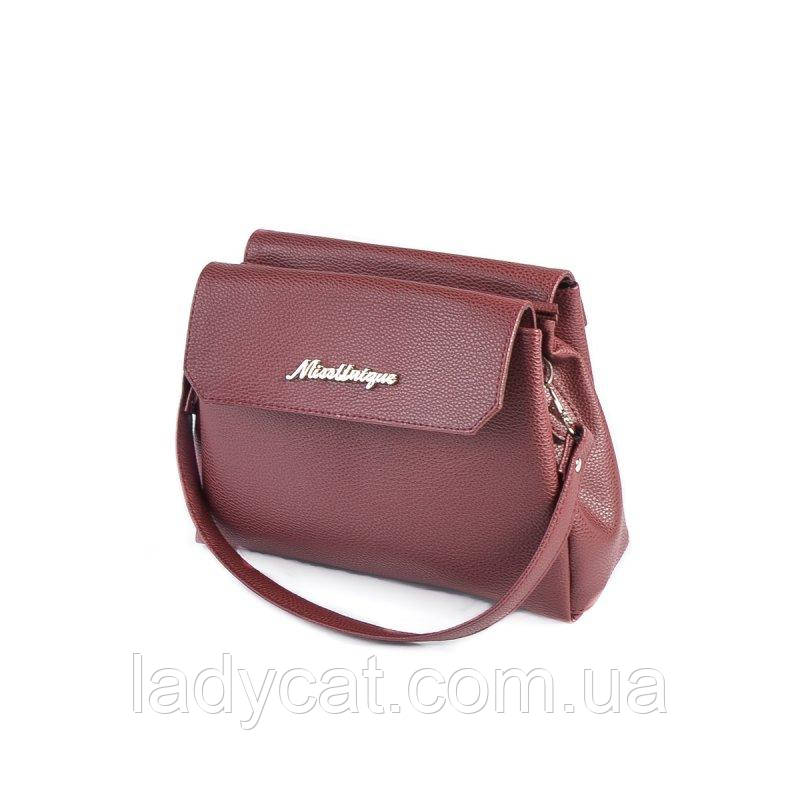 0784deb799aa Женская сумка с кожзама бордового цвета на длинном ремешке: продажа ...