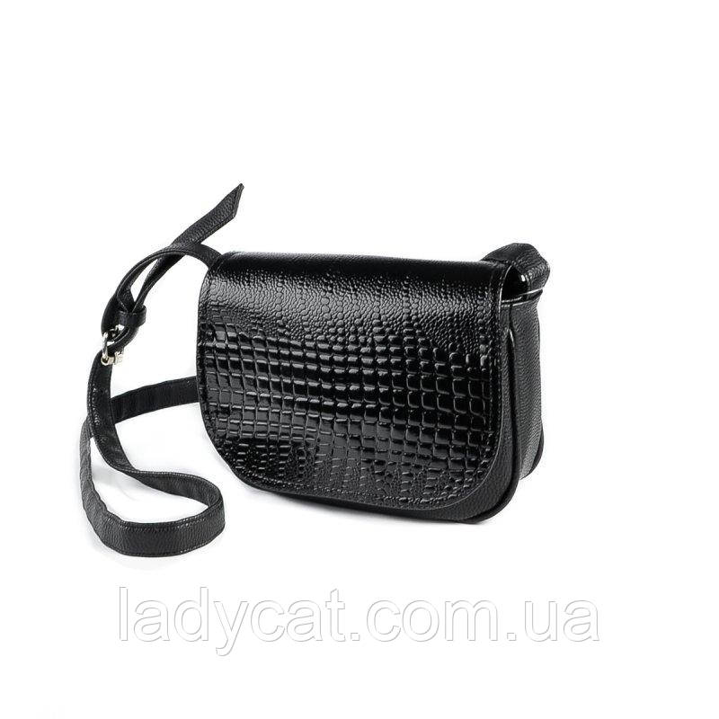 7156e8a8084e Женская маленькая черная сумочка под кожу питона -