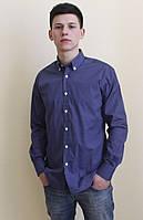 Мужская рубашка синяя в горошек