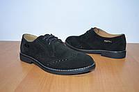 Детские замшевые туфли.Кожаные туфли на ребенка Ed-GE Е028 черные
