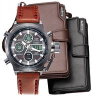 Комплект наручные часы AMST + портмоне Baellerry Business