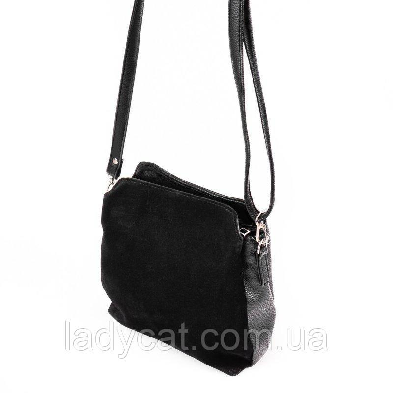 Модная женская замшевая сумочка черного цвета