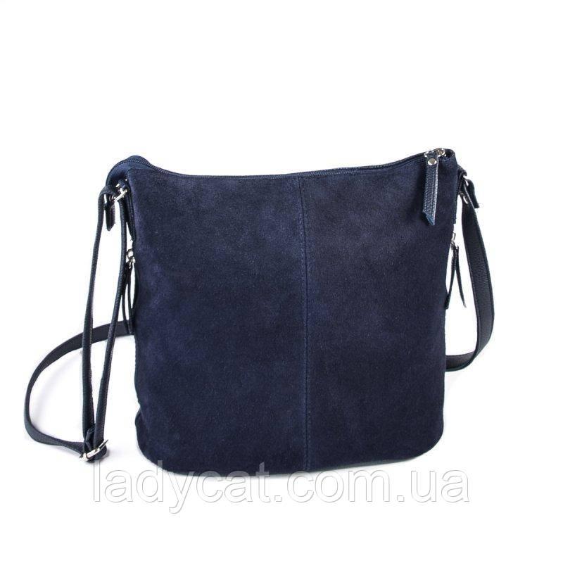 3d80b0897c8b Женская замшевая сумка через плечо цвет синий -