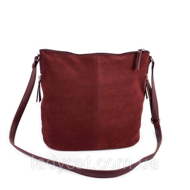 06a9788e2555 Женская замшевая сумка через плечо цвет бордо -