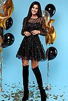 Изумительное Нарядное Платье с Верхним Слоем из Сетки с Цветочками Черное S-XL, фото 1
