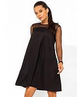 Черное мини платье покроя трапеция с сеткой-горох Д-1739