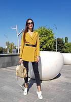 Женский пиджак с поясом , размер 42-46, цвет горчичный