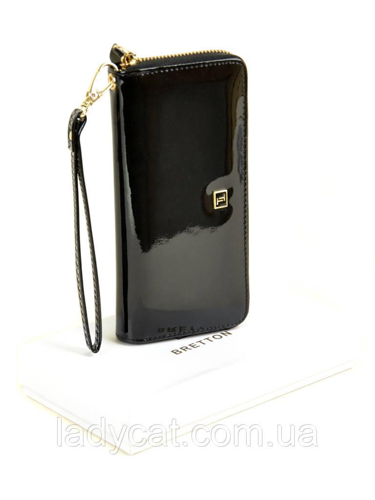 Женский лаковый кошелек-сумочка W38 black