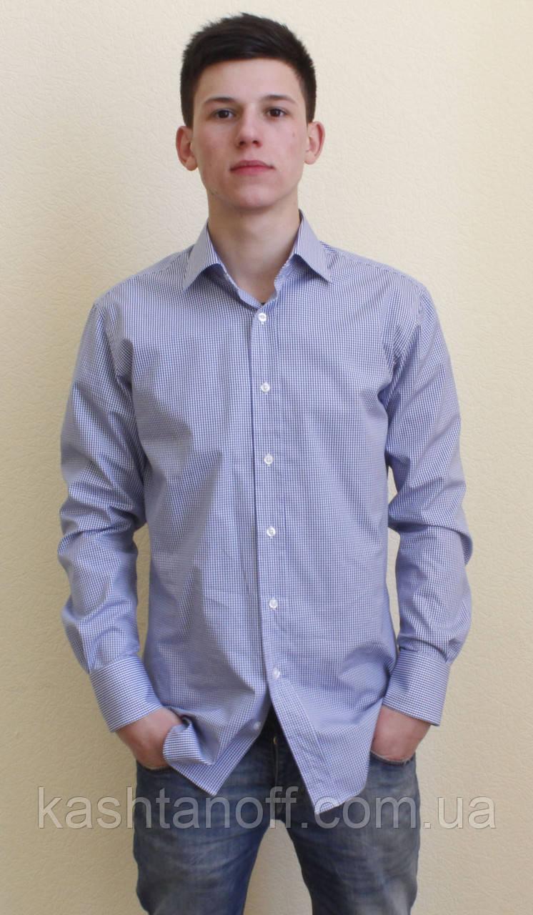 Приталені сорочка в дрібну синю клітку