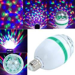 Разноцветная вращающаяся LED лампа под обычный цоколь