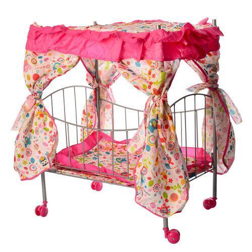 Кроватка для кукол с балдахином металлическая, в кор-ке