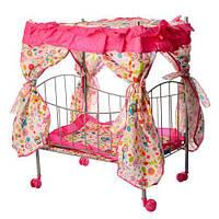 Ліжечко для ляльок з балдахіном металева, в кор-ке