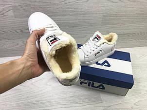 Подоростковые зимние кроссовки Fila,белые на меху, фото 2